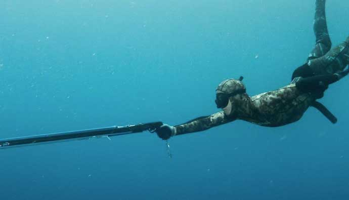 A Spear Fishing Spearo Doing a Mid-Surface Dive