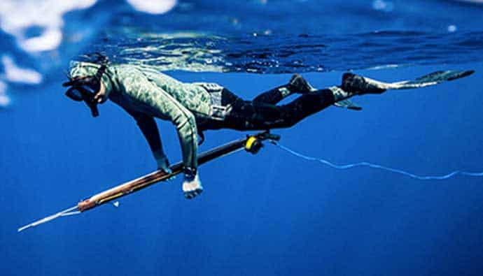 Spear Fishing Spearo Doing a Surface Dive