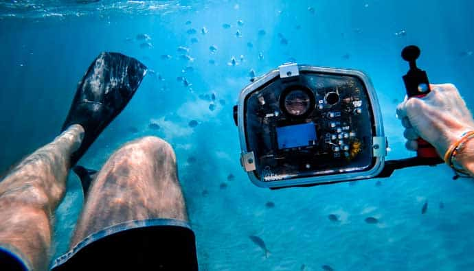 underwater camera diver