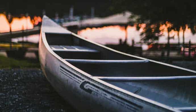 Fishing canoe on shore