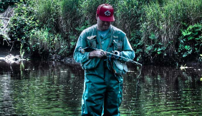 Man fishing for bass using a bass rod and reel