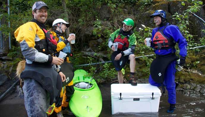 Yeti cooler used while kayaking