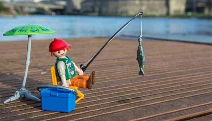 Lego man using the best freshwater lures to catch fish