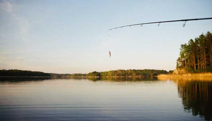 Hard lure on a lake