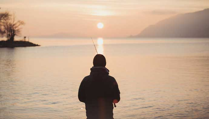 fishing is good for your health man fishing sunset