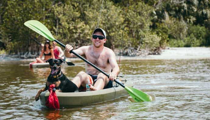 man and friends on the best fishing kayak