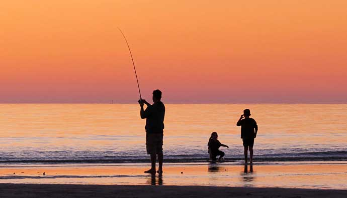 beach fishing man kids