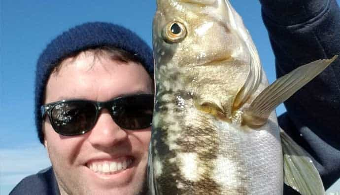 Jon Stenstrom with a calico bass
