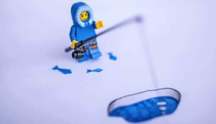 winter fishing lego man with fish