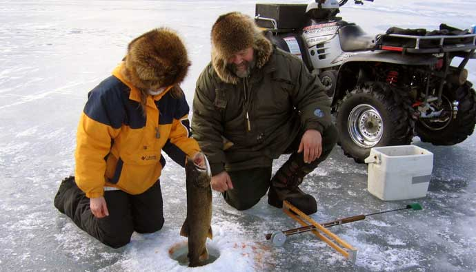 ice fishing gear on a lake