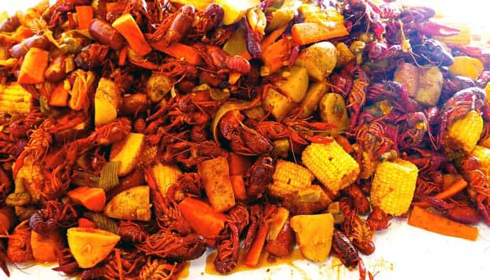 Crawfish boil with corn