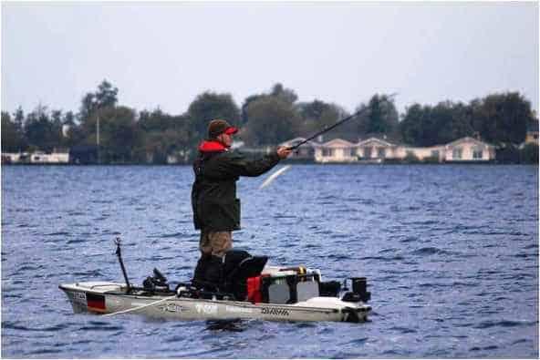 kayak fishing in winter